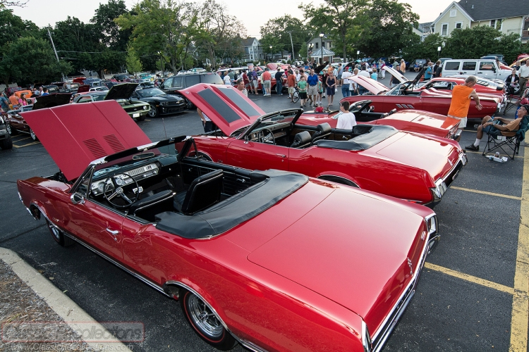 Classic and collector cars parked at the 2013 downtown Barrington, Illinois cruise night.