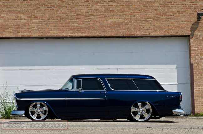 This 1955 Chevrolet Nomad was custom built by Nostalgic Autobody, in Island Lake, Illinois. It features a custom rear suspension.