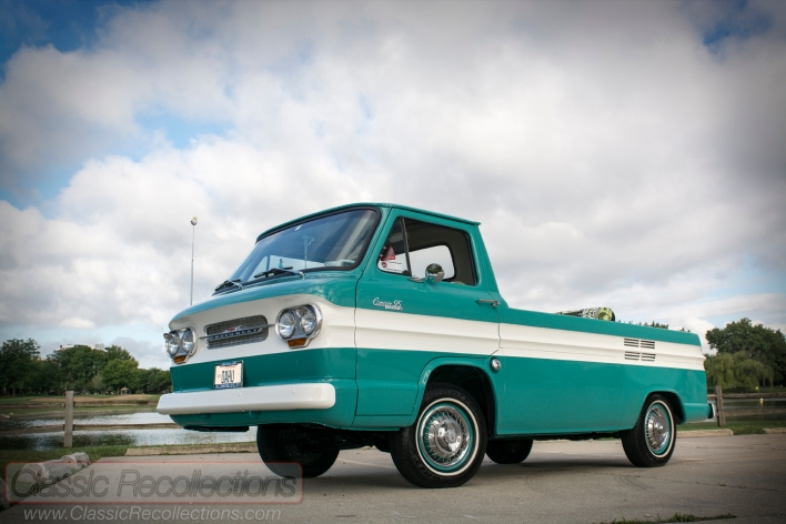This 1963 Chevrolet Corvair 95 Rampside was restored.