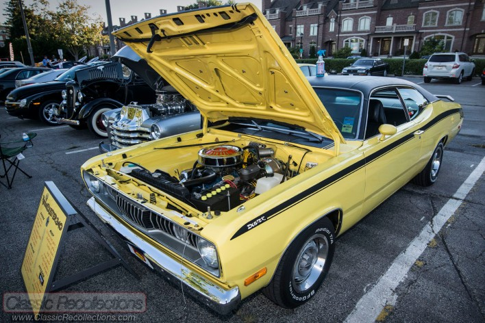 This 340 Plymouth Duster was parked at the downtown Palatine, Illinois cruise night.