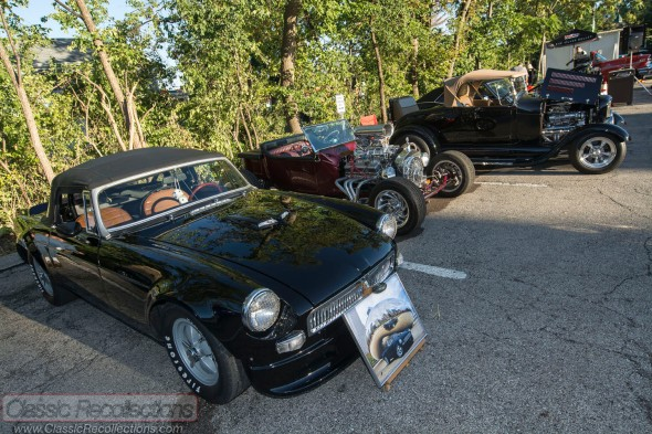These classic cars were parked at the downtown Palatine, Illinois cruise night.