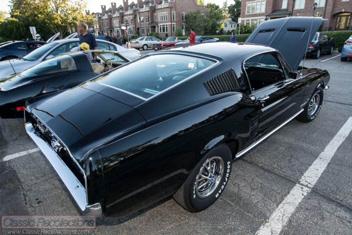 This restored 1967 Ford Mustang fastback was parked at the 2013 downtown Palatine cruise night.