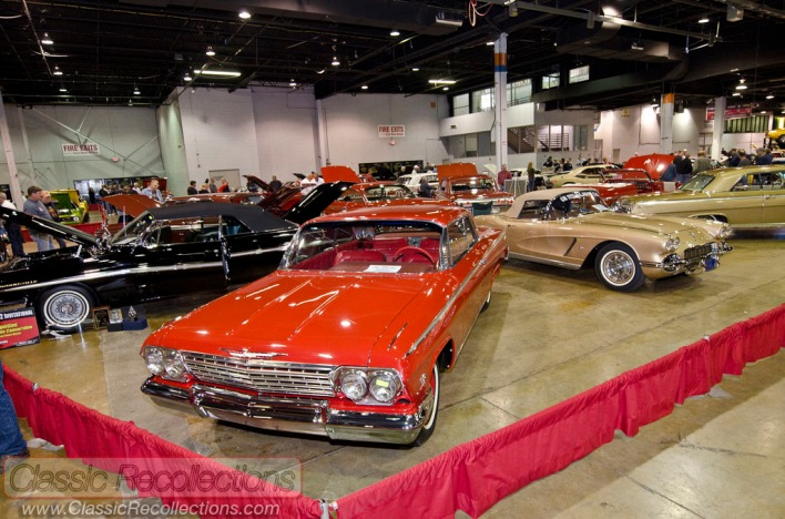 Classic and muscle cars on display at the 2012 Muscle Car and Corvette Nationals, in Rosemont, Illinois.