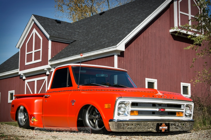 This 1968 Chevrolet C-10 was cutomized and utilizes a six-cylinder engine.