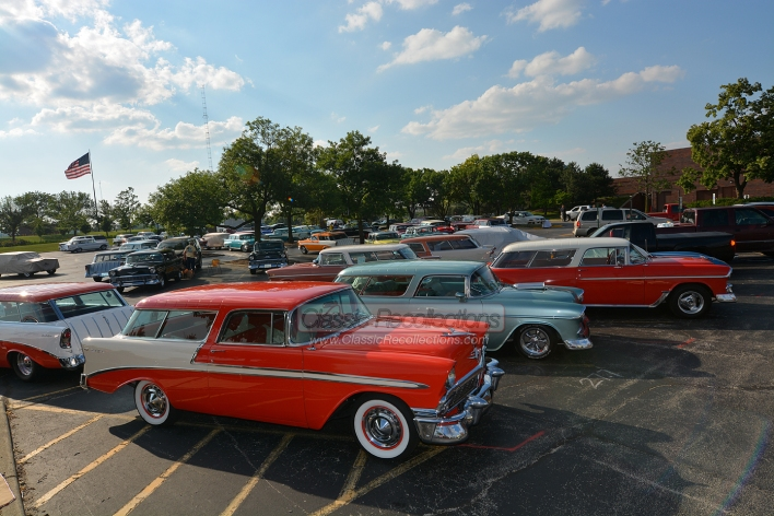 Classic Chevrolet Nomad station wagons parked at the 2013 Chevrolet Nomad Association's 25th convention held in Itasca, IL.
