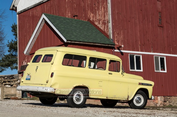 This 1959 Chevrolet Carryall Suburban is unrestored and served on a Texas Army base.