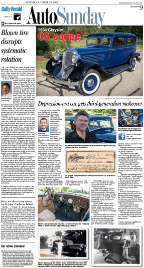 A sample 'Classic Recollections' feature as seen in the Daily Herald Auto Section.