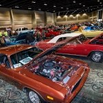 Custom cars parked at the Tinley Park Convention Center, in Tinley Park Illinois at the 2014 Custom Rides & Custom Car Show.