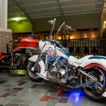 Custom motorcycles on display at the 2014 Chicago Cycle Show at the Pheasant Run Resort in St. Charles, IL.