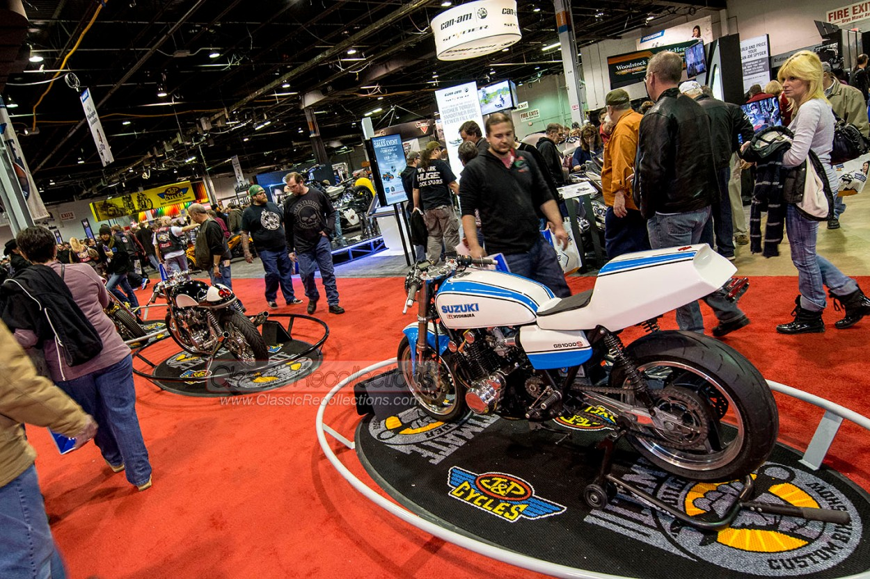 Motorcycles on display at the 2014 Progressive International Motorcycle Show.
