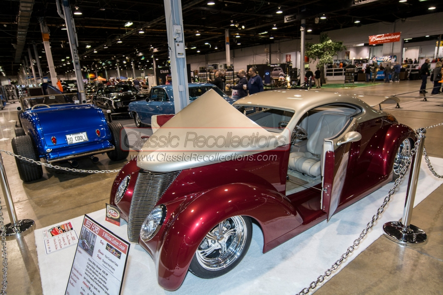 Classic and custom cars on display at the 2014 World of Wheels car show.
