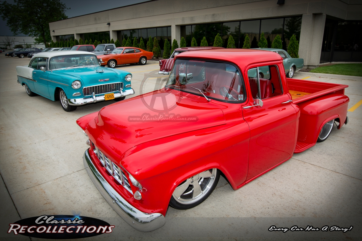 This 1955 Chevrolet Bel Air and 1955 Chevrolet pickup truck participated in the 2015 Hot Rod Power Tour.